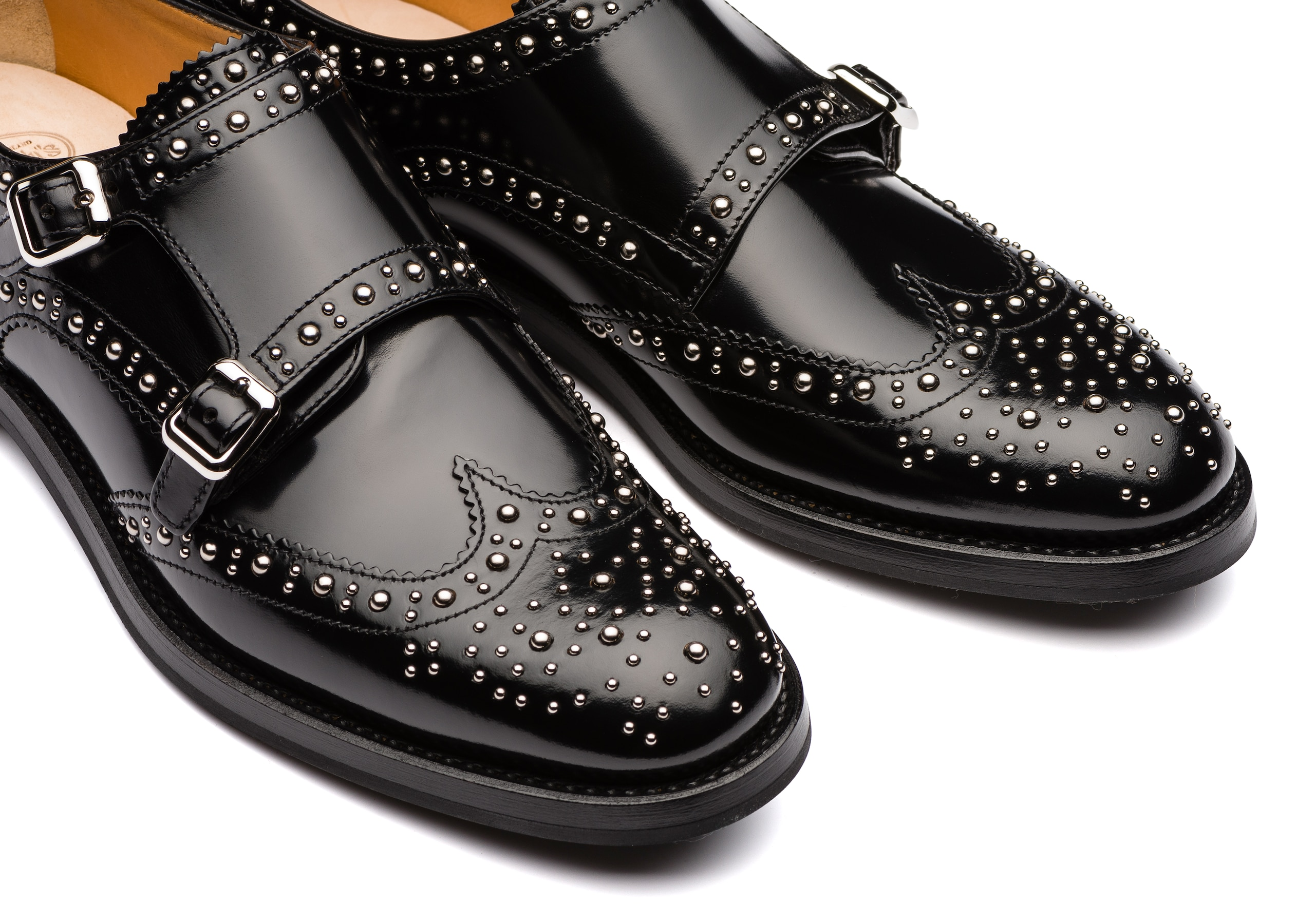 Lana met. Church's Polished Binder Monk Brogue Stud Black