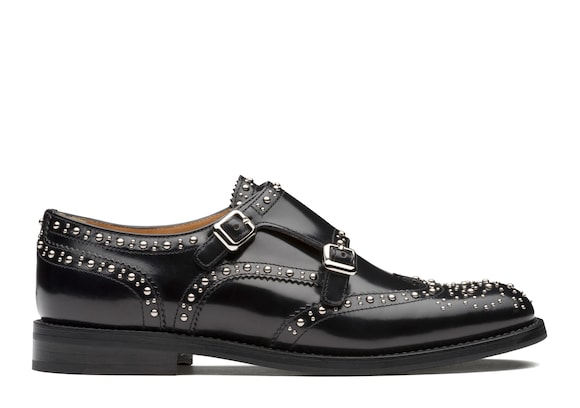 Church's Lana met. Monk Brogue in Pelle di Vitello Spazzolato  Borchia Nero