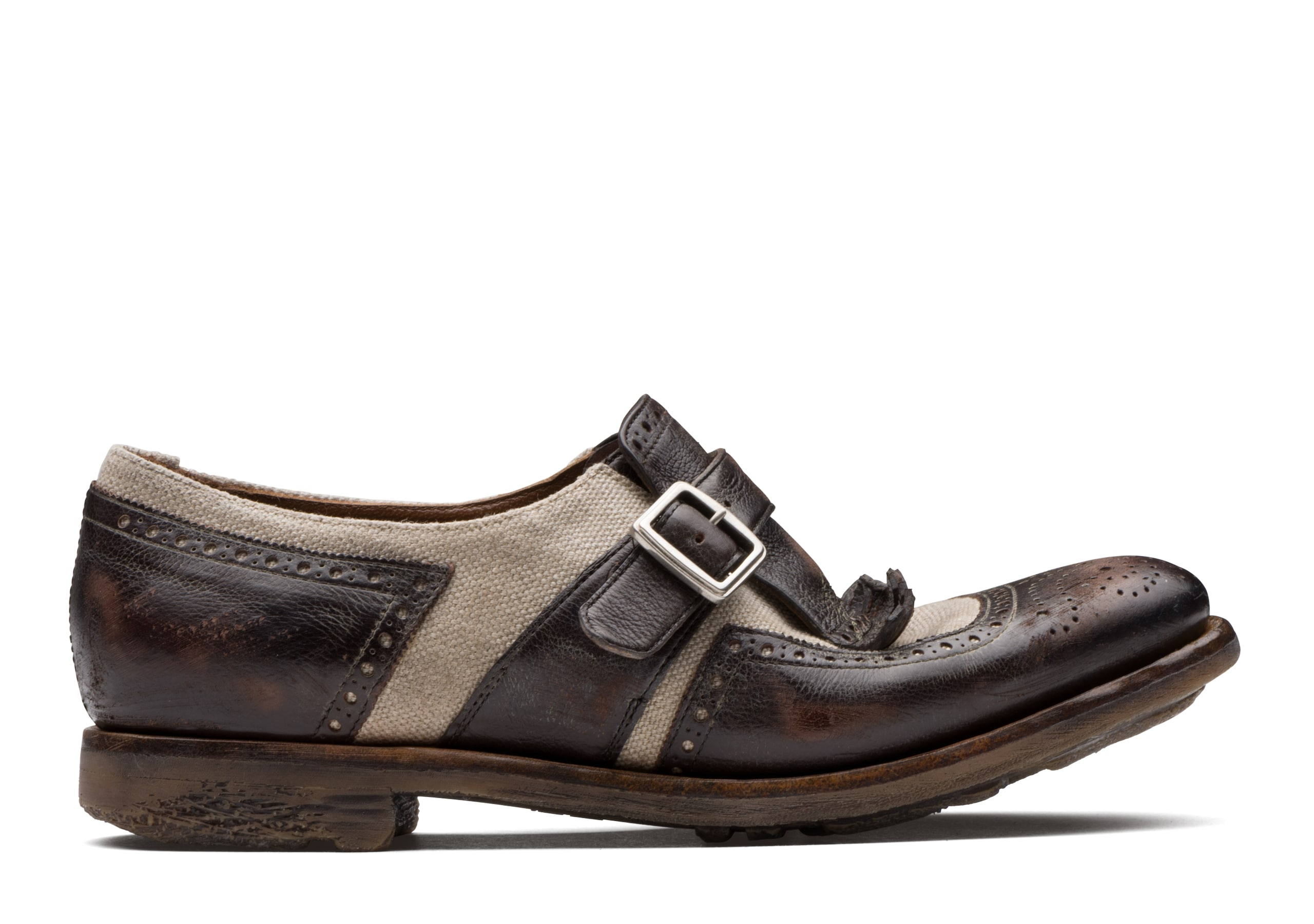 Shanghai w Church's Vintage Glacè and Linen Buckle Loafer Brown