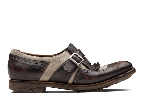 Church's true Vintage Glacè and Linen Buckle Loafer Ebony & ecru