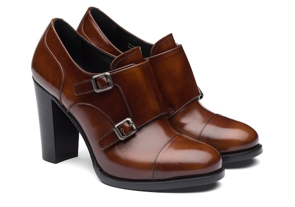 Church's true Polished Fumè Heeled Monk Strap Tabac