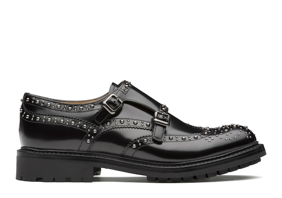 Church's true Polished Fumè Monk Brogue  Stud Black