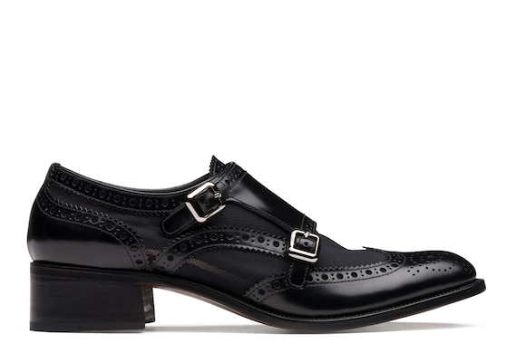 Polished Fumè & Mesh Heeled Monk Brogue
