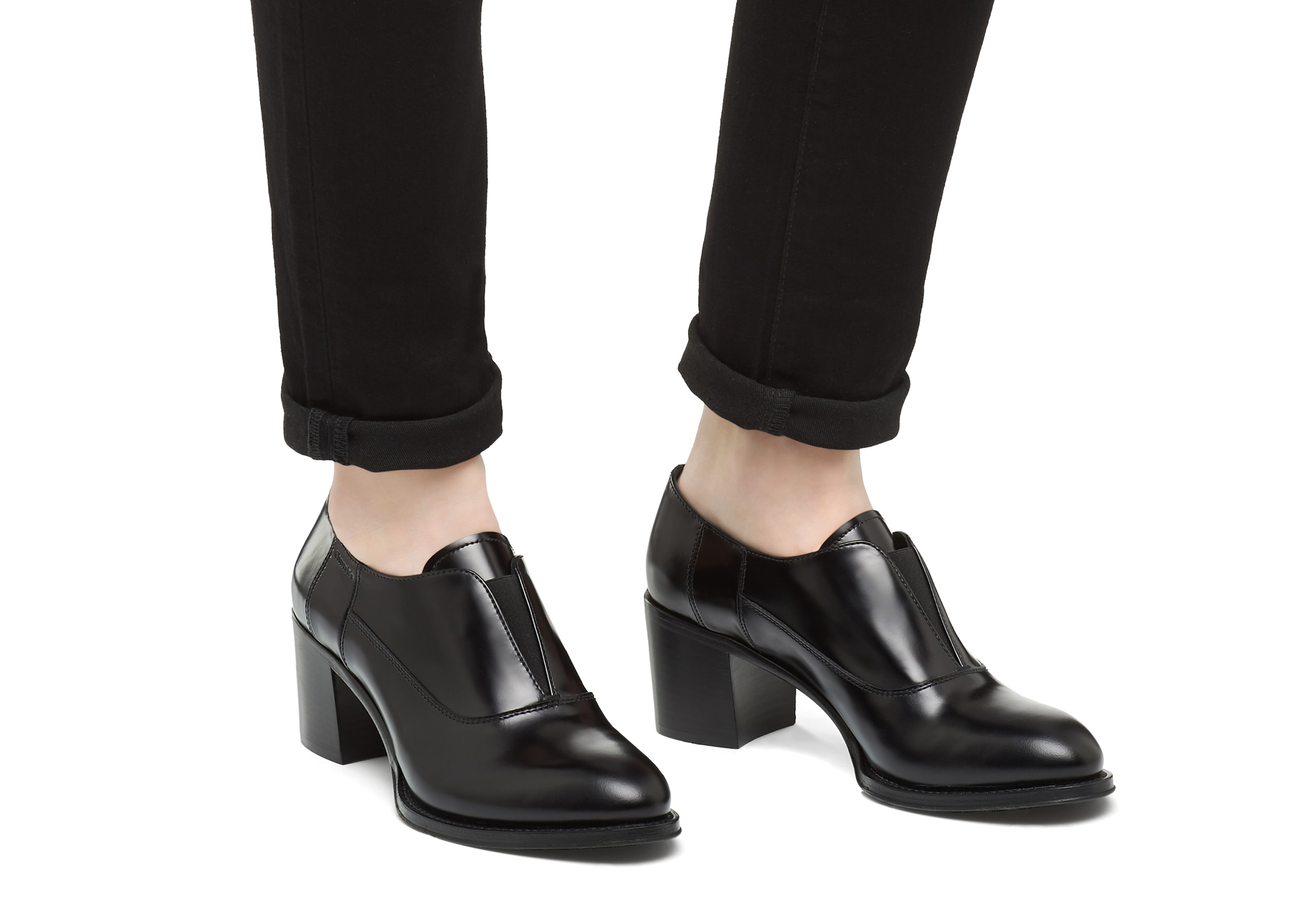 Sophie 55 Church's Polished Fumè Heeled Sip On Black