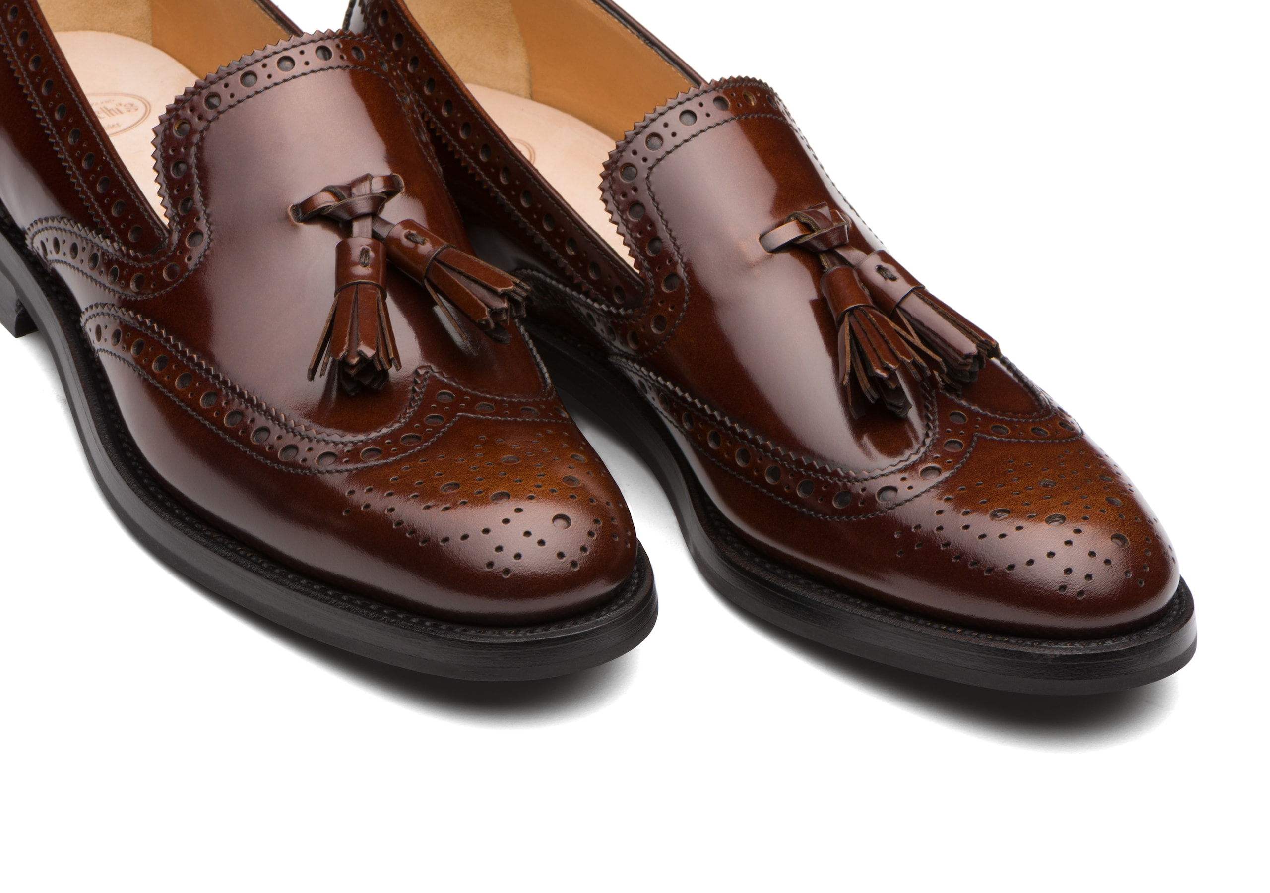 Tamaryn 2 Church's Mocassino Brogue in Pelle Lucida Fumé Marrone