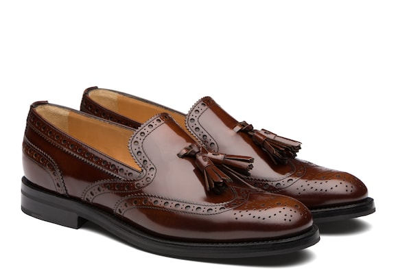 Church's true Mocassino Brogue in Pelle Lucida Fumé Tabac