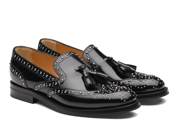 Church's Tamaryn 2 met Mocassino Brogue con Borchie in Pelle di Vitello Lucida Spazzolata Nero