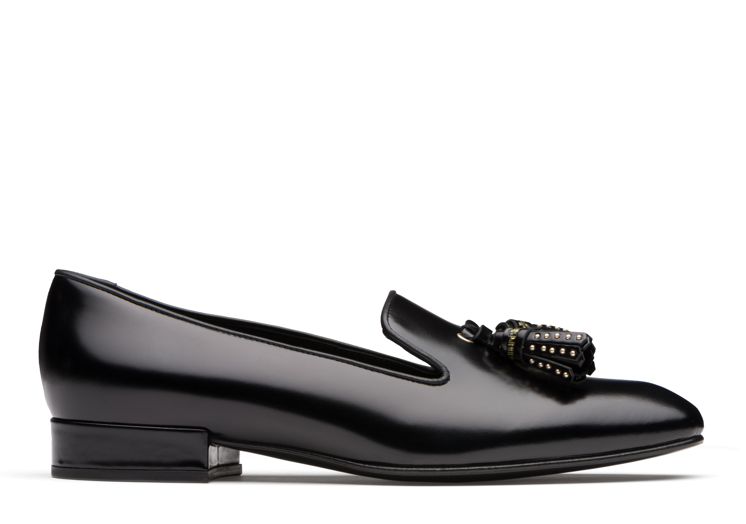 Cate Church's Polished Fumè Slip On Loafer Black