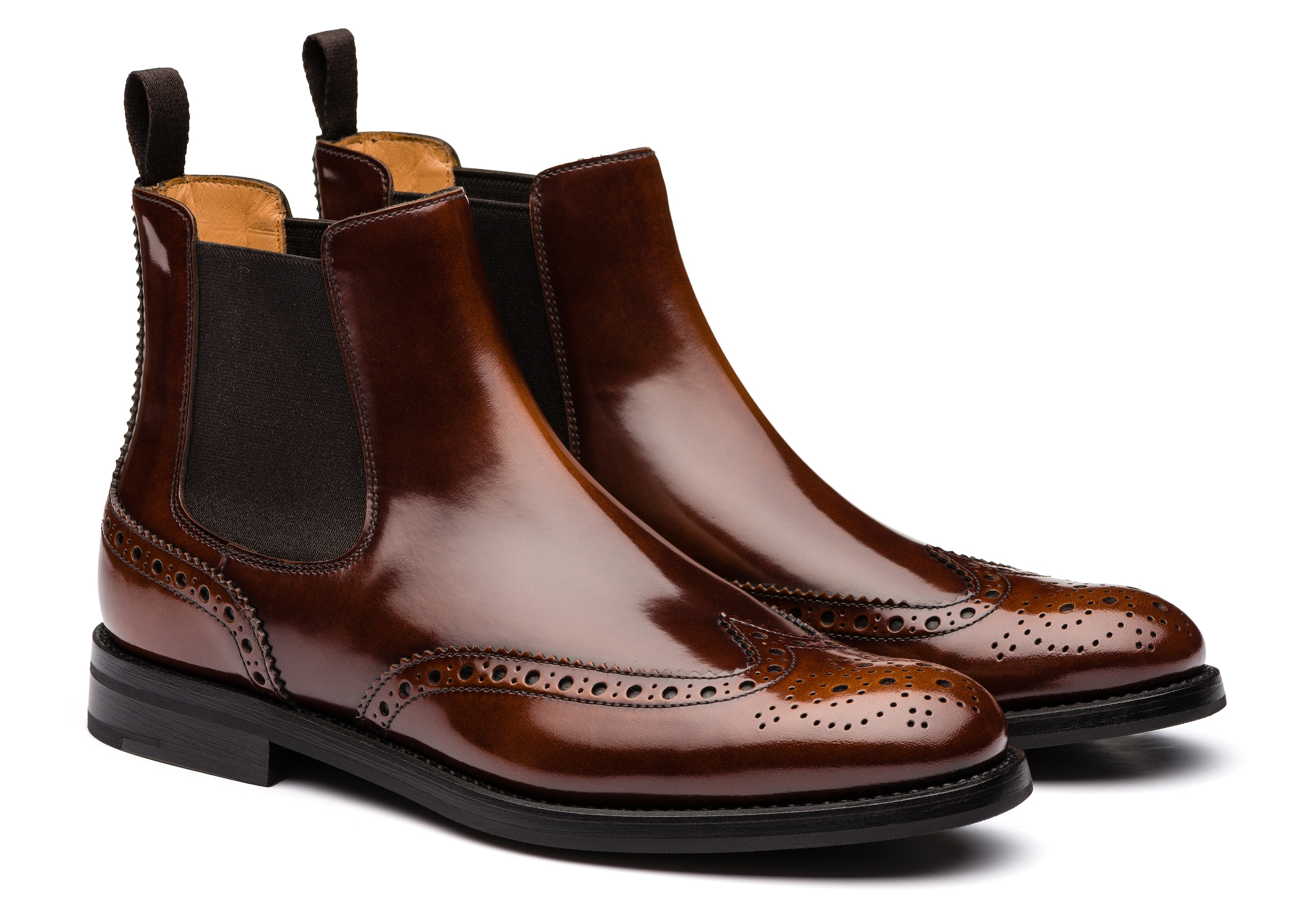 Ketsby wg Church's Stivale Chelsea Brogue in Pelle Lucida Fumè Marrone