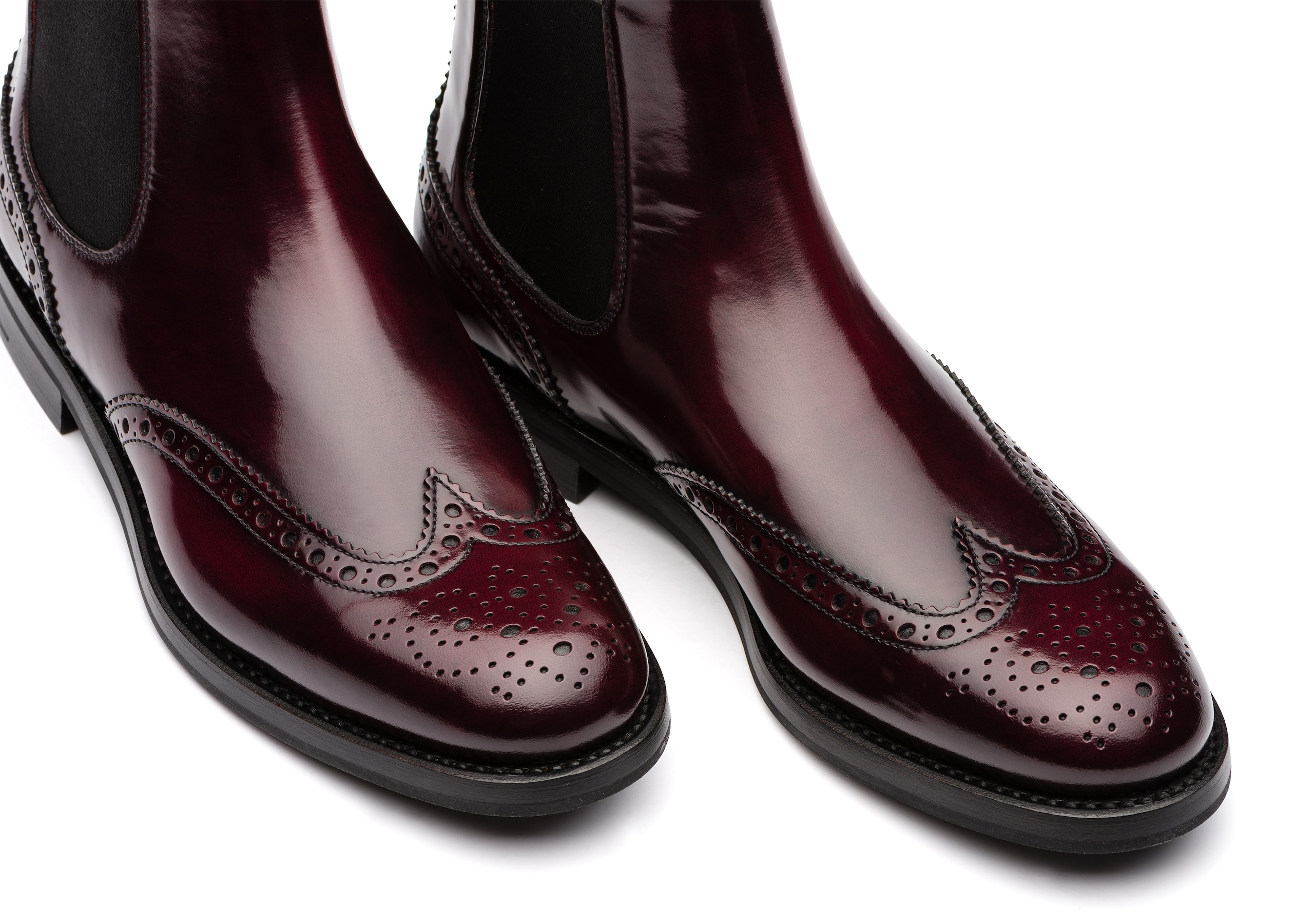 Ketsby wg Church's Polished Fumè Brogue Chelsea Boot Burgundy