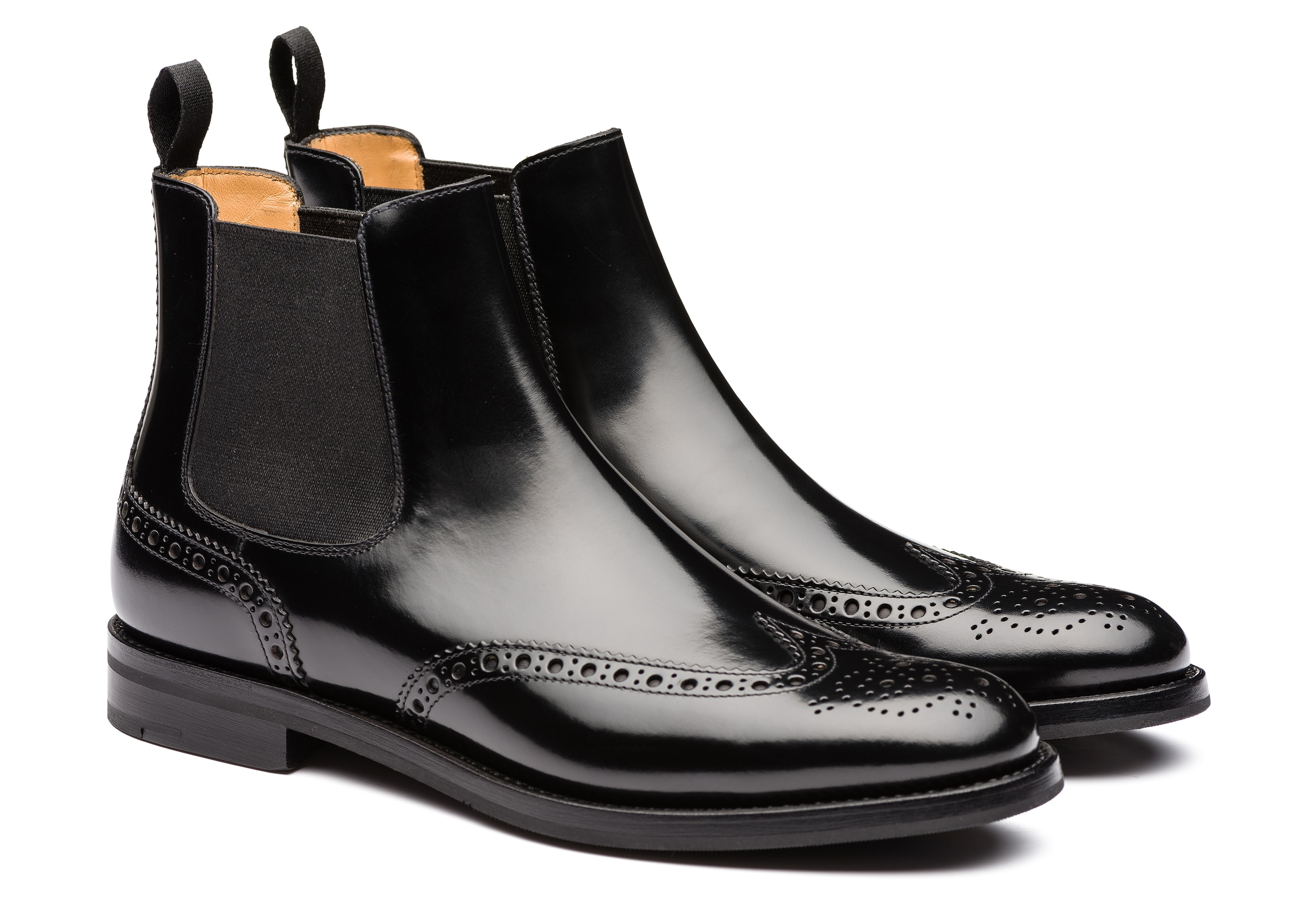 Ketsby wg Church's Polished Binder Brogue Chelsea Boot Black