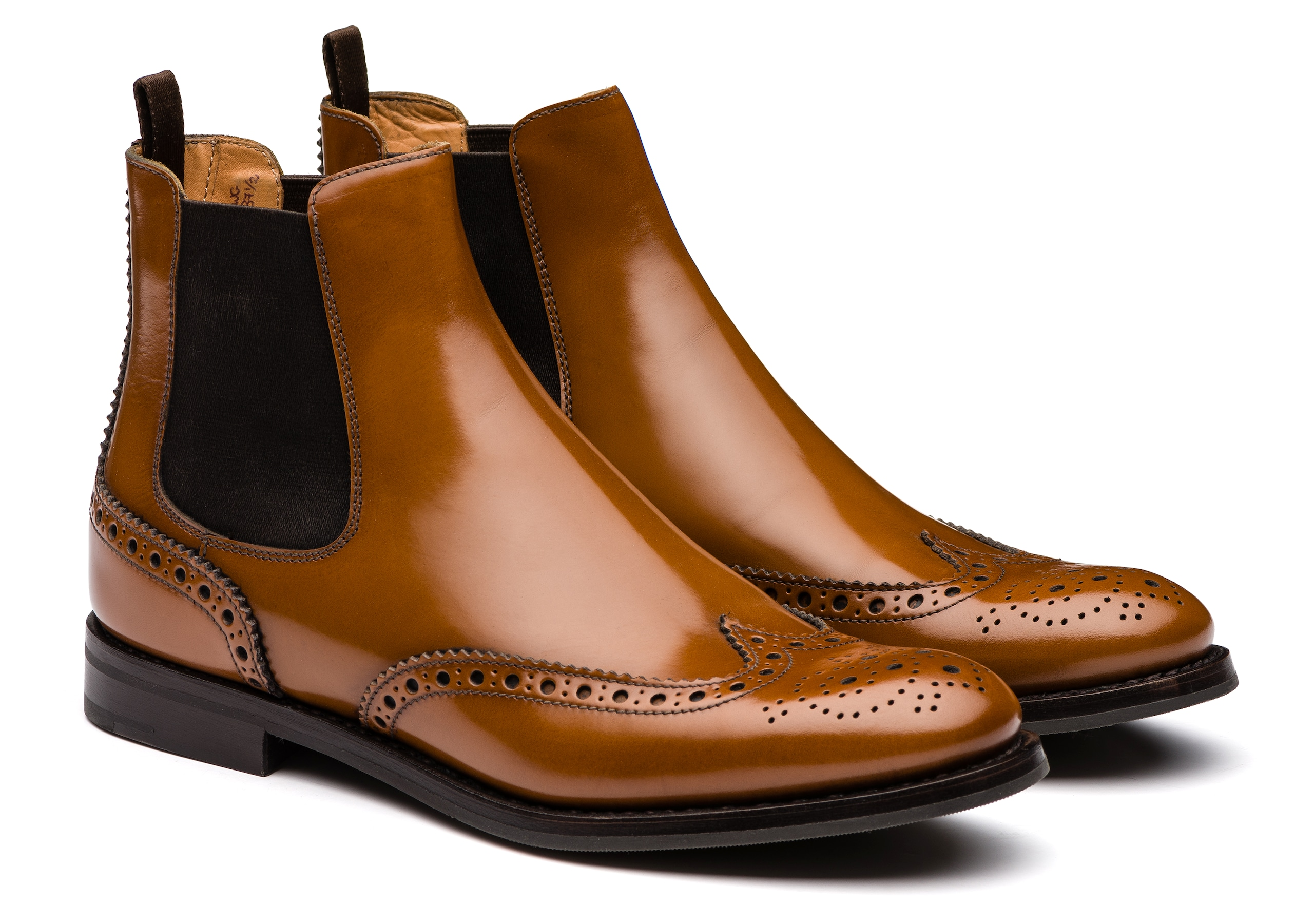 Ketsby wg Church's Stivale Chelsea Brogue in Pelle di Vitello Spazzolato Marrone