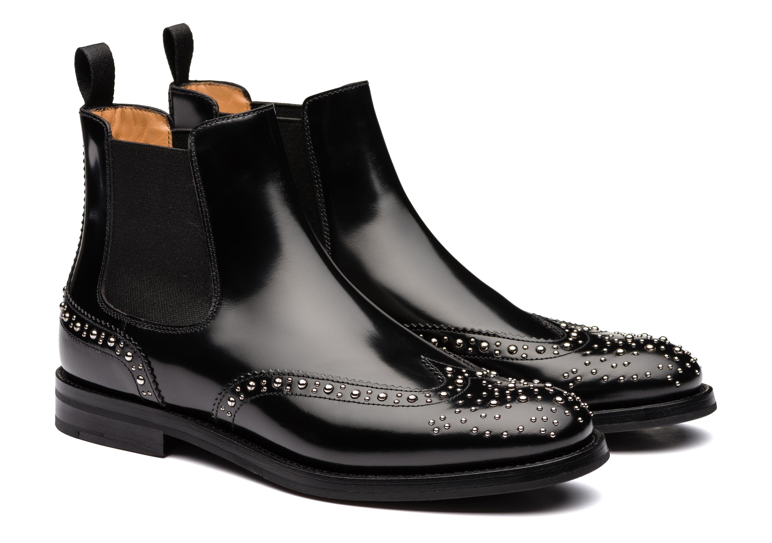 Ketsby met Church's Polished Binder Chelsea Boot Stud Black