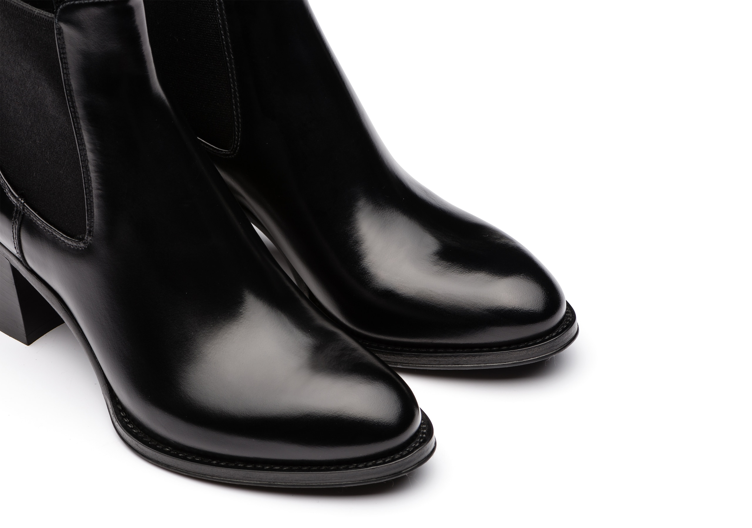 Shirley 55 Church's Polished Fumè Heeled Boot Black