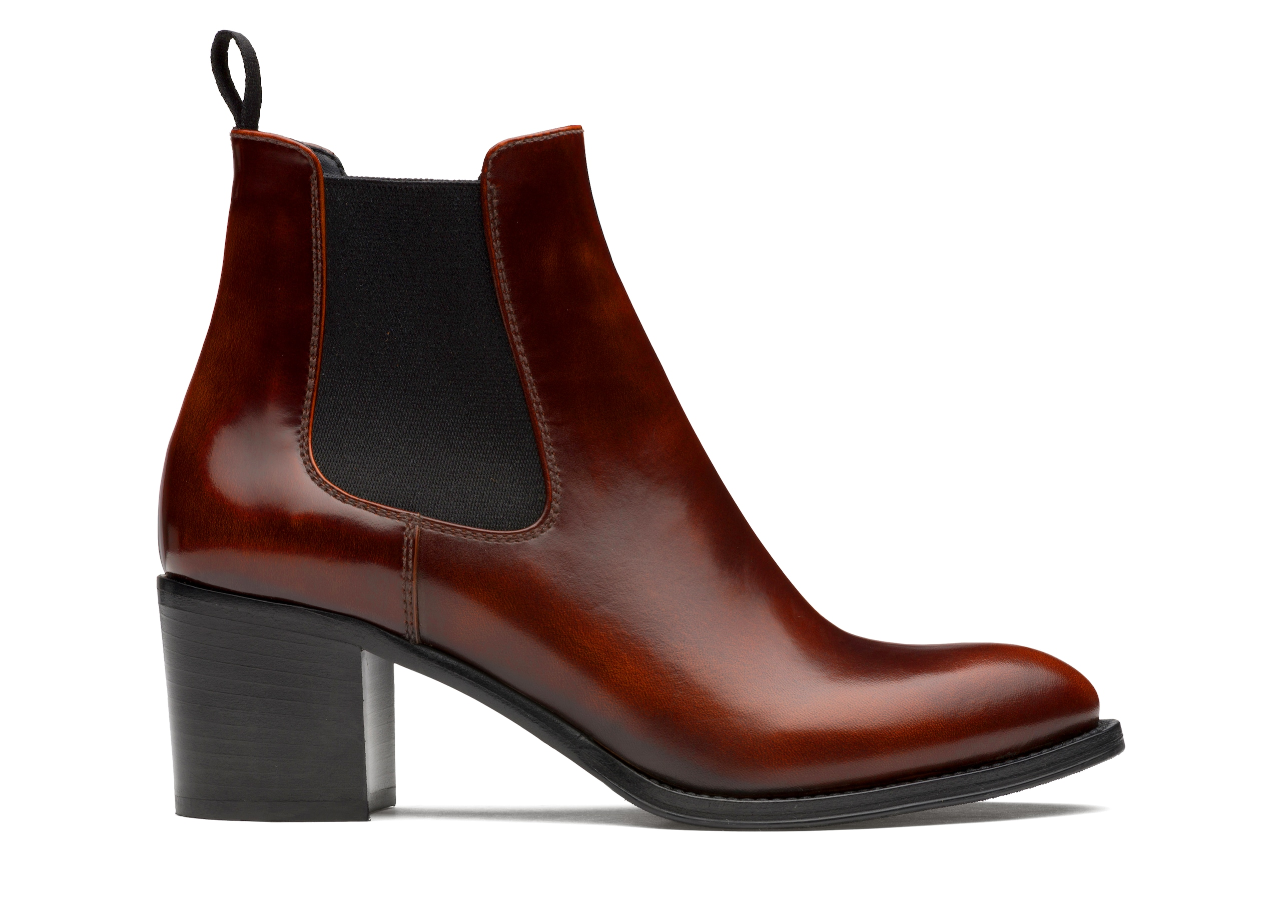Shirley 55 Church's Polished Fumè Heeled Boot Brown
