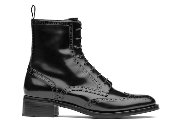 Polished Fumè Lace Up Boot Brogue