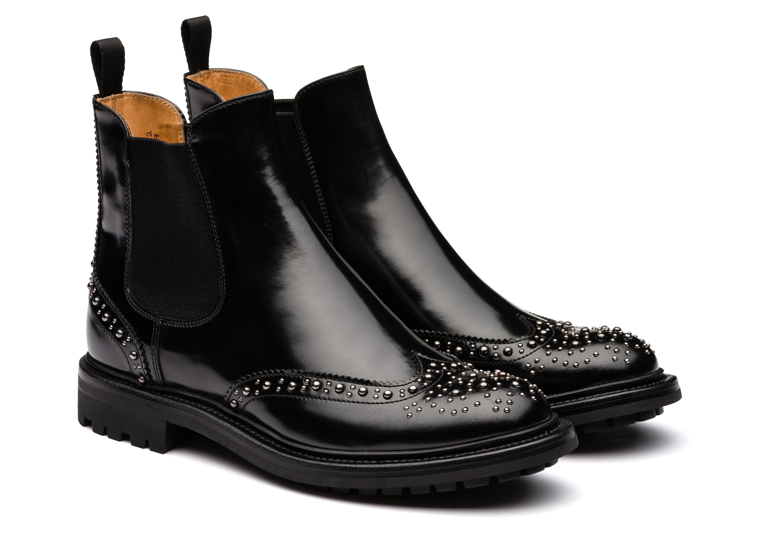 Aura met. 2 Church's Polished Fumè Chelsea Boot Stud Black