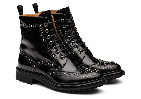 Church's Angelina met. 2 Polished Fumè Lace-Up Boot Stud Black