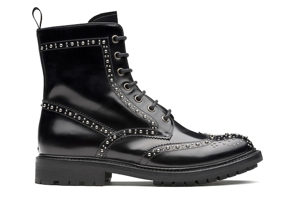 Polished Fumè Lace-Up Boot  Stud