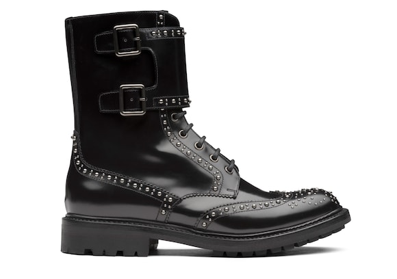 Church's Carly met. 2 Polished Fumè Lace-Up Boot Stud Black