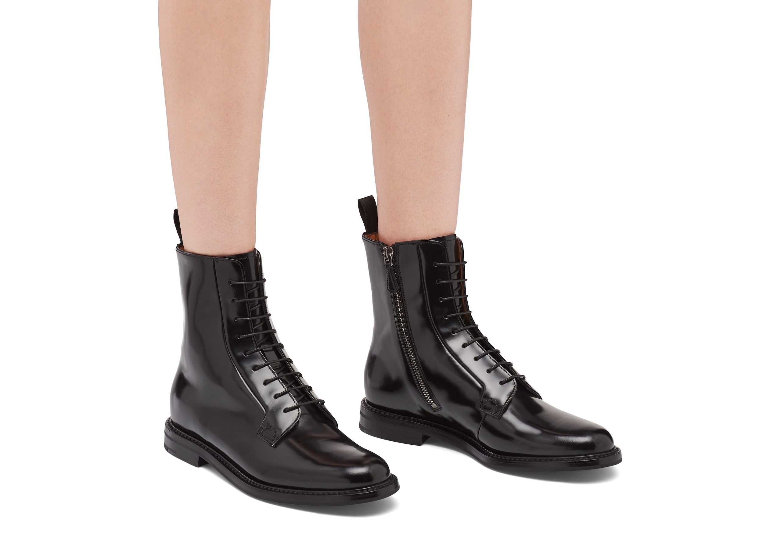 Alexandra Church's Polished Binder Lace Up Boot Black