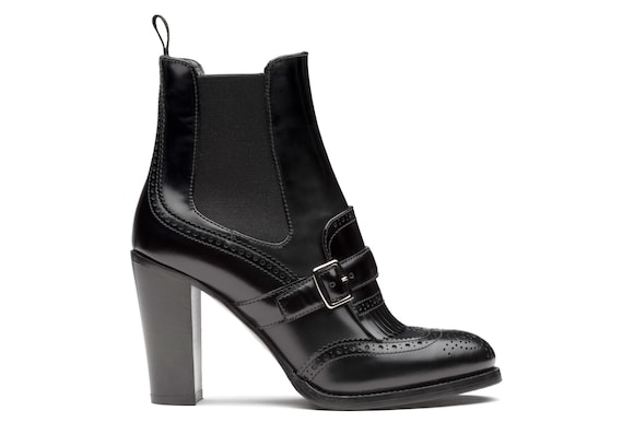 Polished Fumè Heeled Boot Brogue