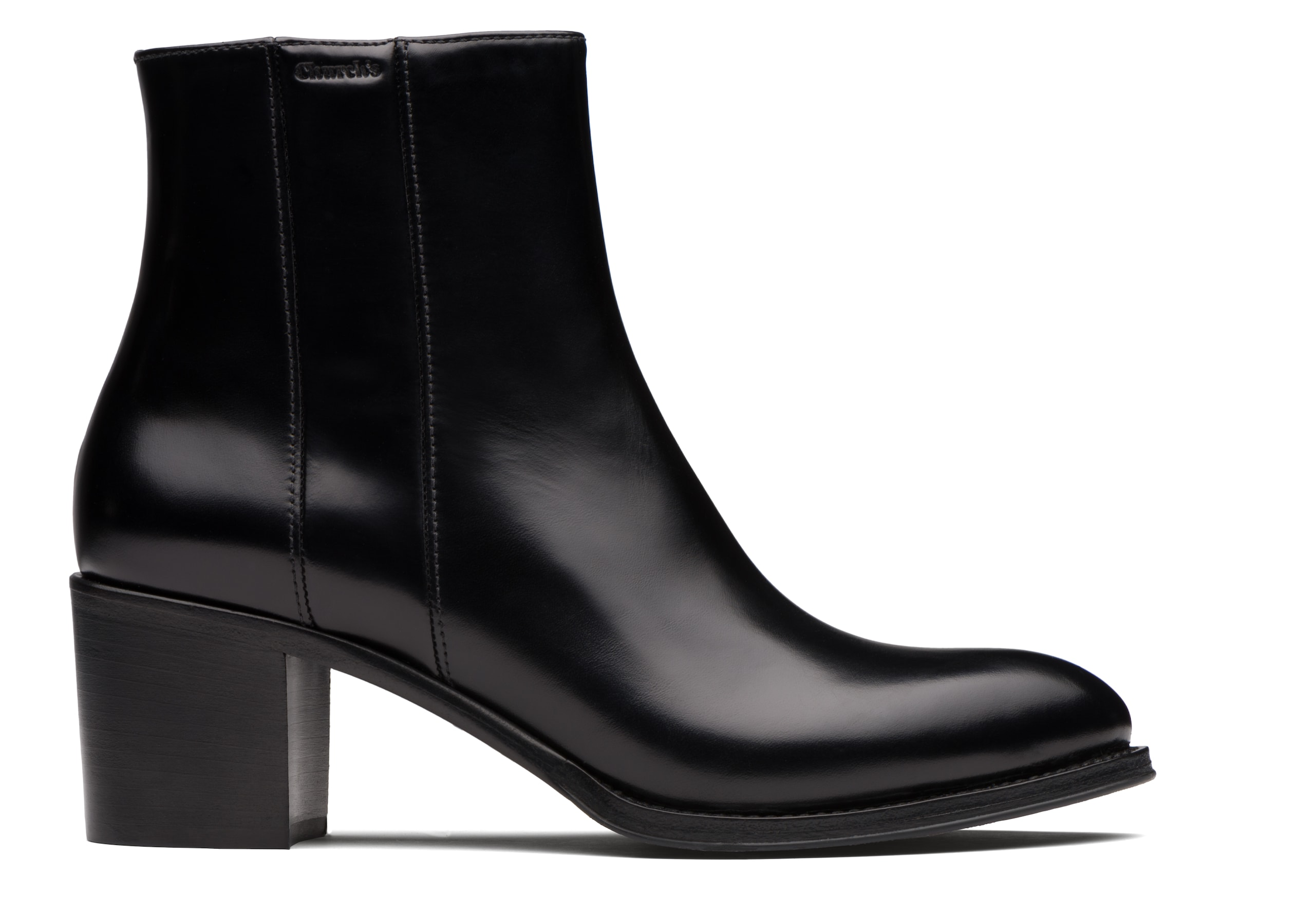 Carin 55 Church's Polished Fumè Heeled Boot Black