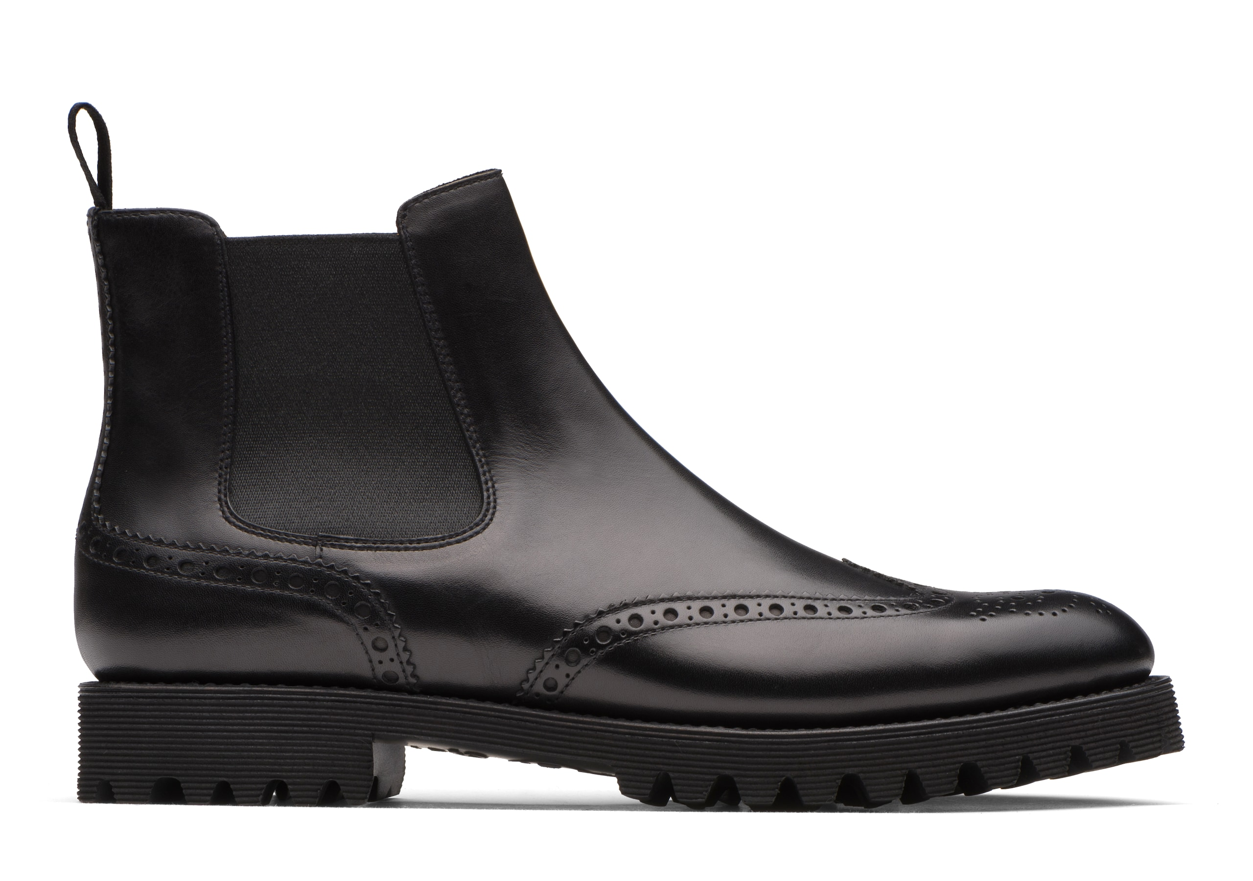 Charlize Church's Calf Leather Chelsea Boot Brogue Black
