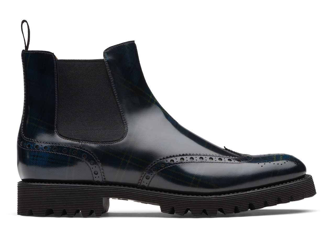 Charlize Church's Polished Fumè Chelsea Boot Brogue Tartan Blue