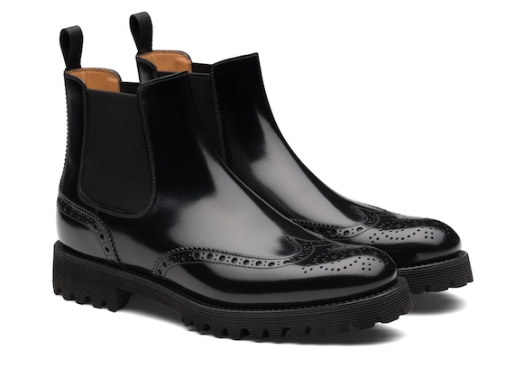 Church's Charlize Stivale Chelsea Brogue in Pelle di Vitello Spazzolato Nero