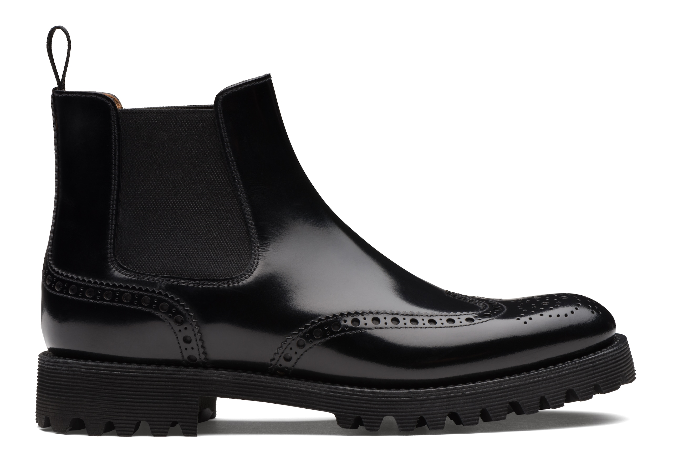 Charlize Church's Stivale Chelsea Brogue in Pelle di Vitello Spazzolato Nero