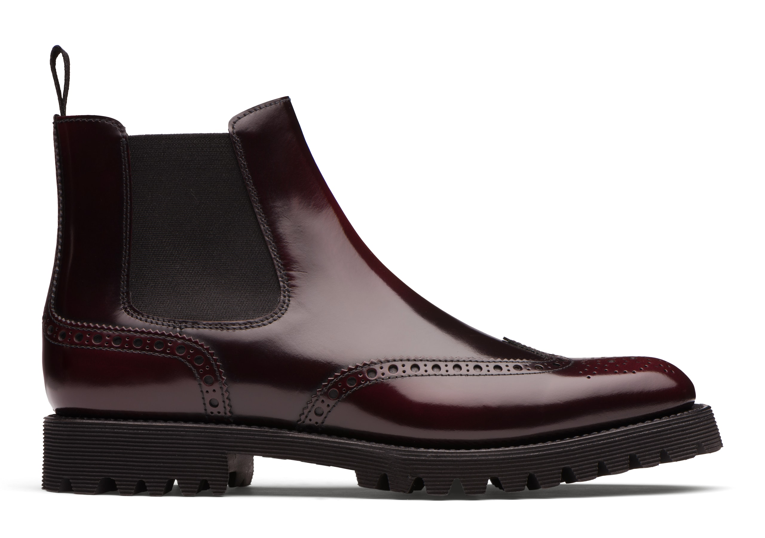 Charlize Church's Stivale Chelsea Brogue in Pelle di Vitello Spazzolato Bordeaux