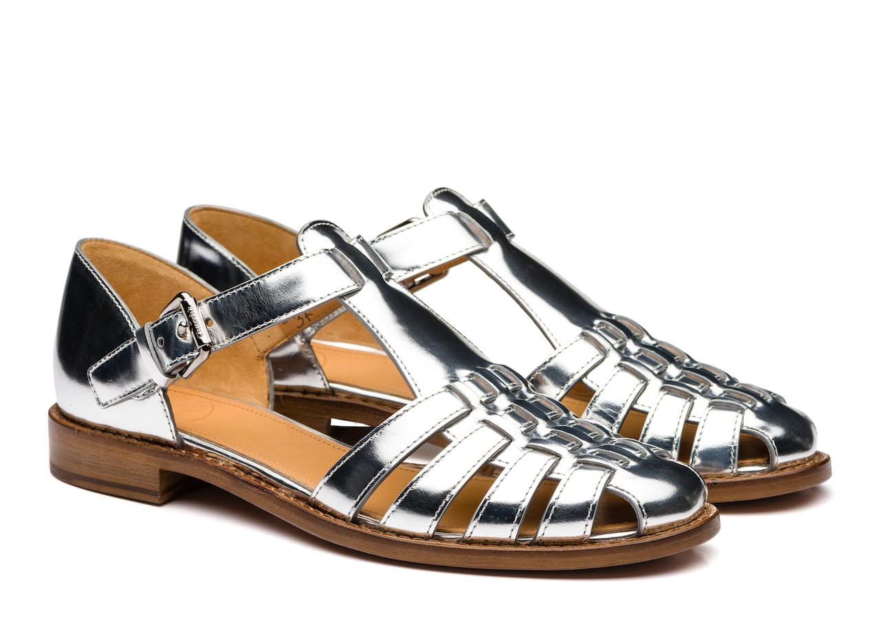 Kelsey Church's Mirror Calf Leather Sandal Gold/silver