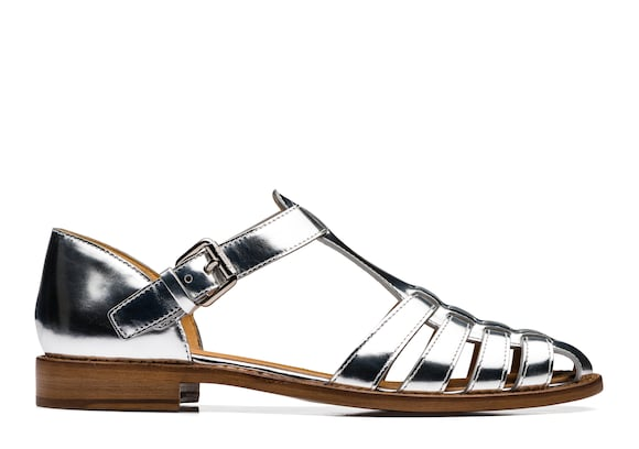 Church's  Mirror Calf Leather Sandal Silver