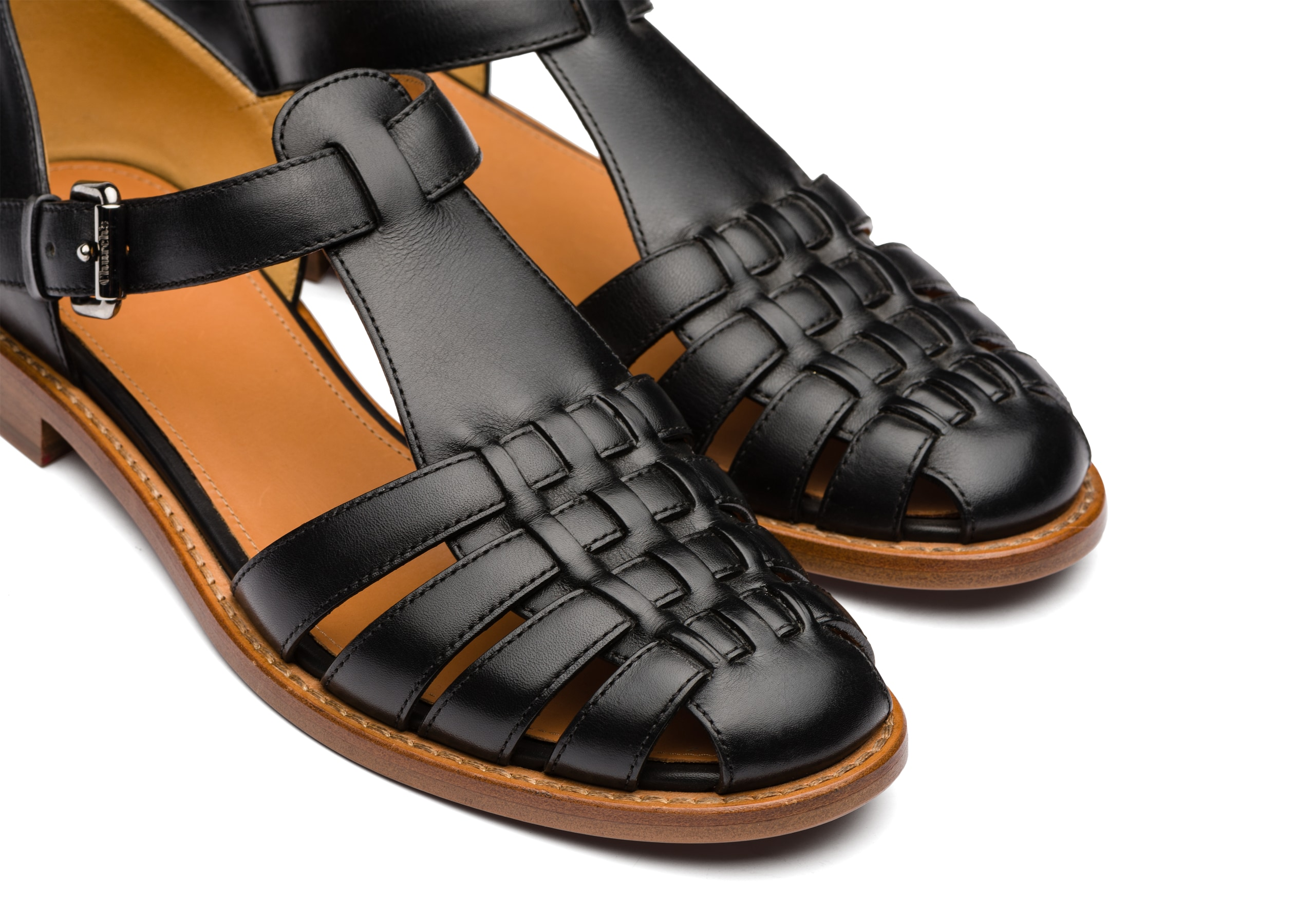 Kelsey Church's Sandalo in Pelle di Vitello Prestige Nero