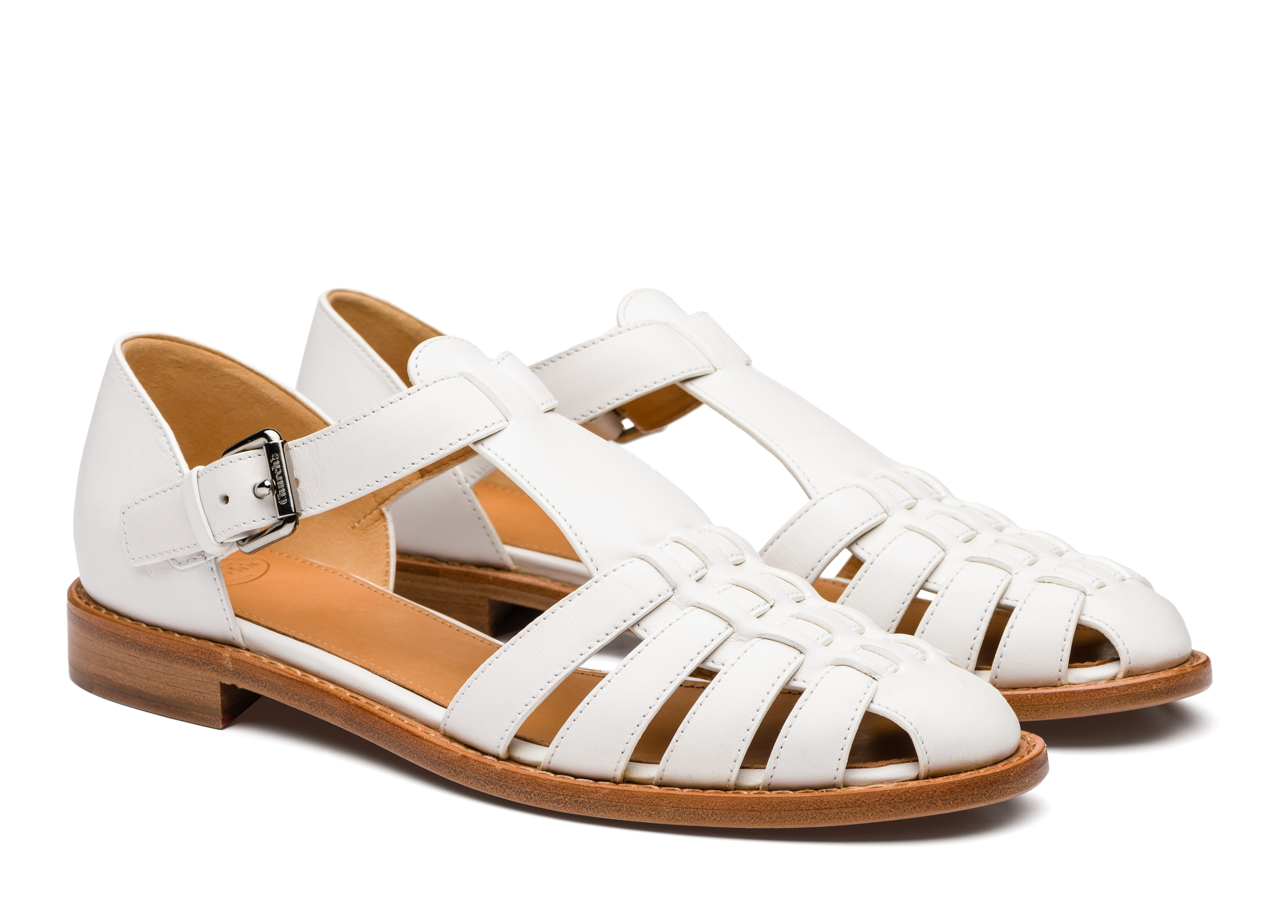 Kelsey Church's Prestige Calf Leather Sandal White