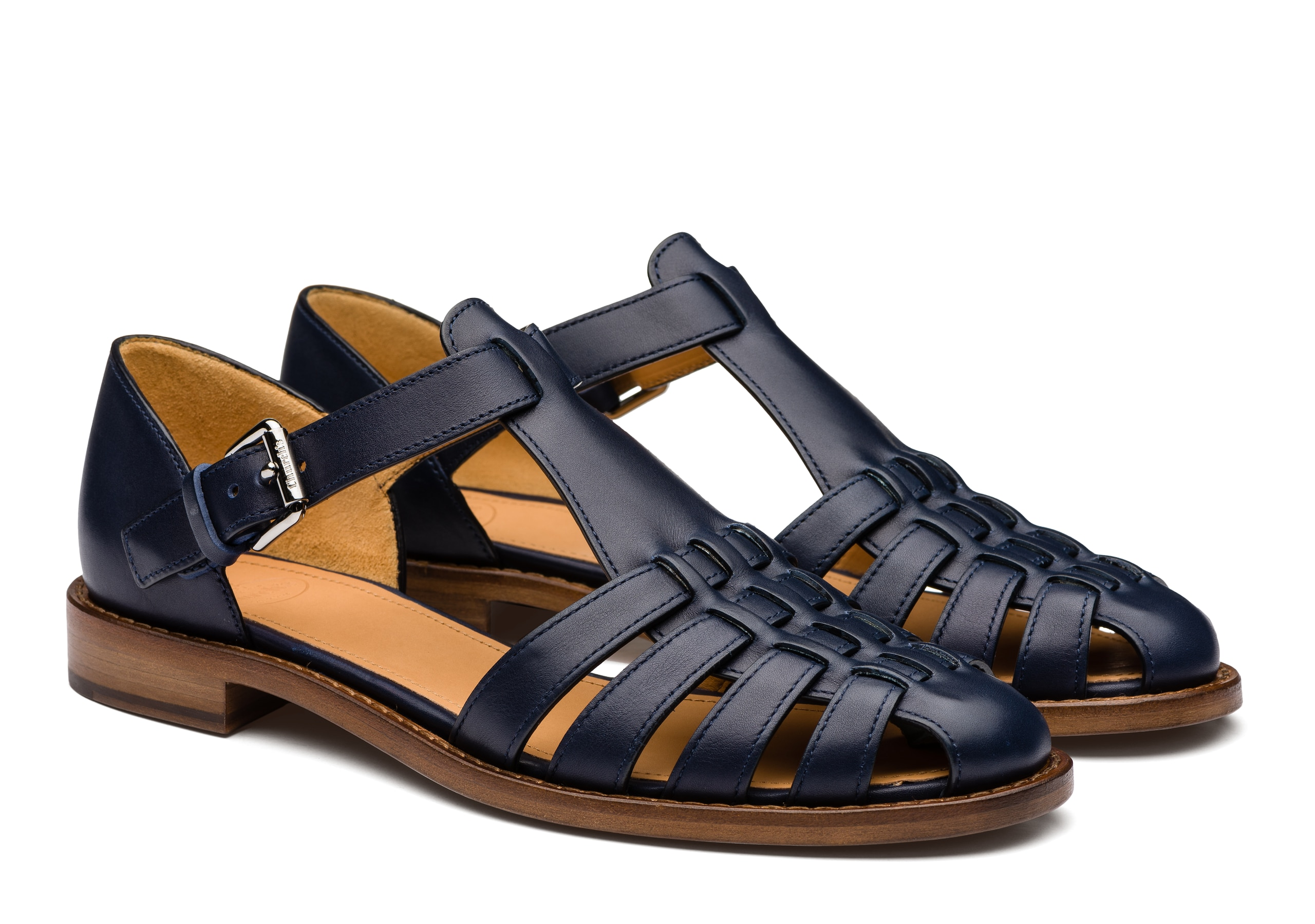 Kelsey Church's Prestige Calf Leather Sandal Blue