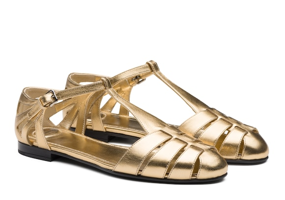 Church's true Sandalo T-bar in Nappa Metallizzata Oro chiaro