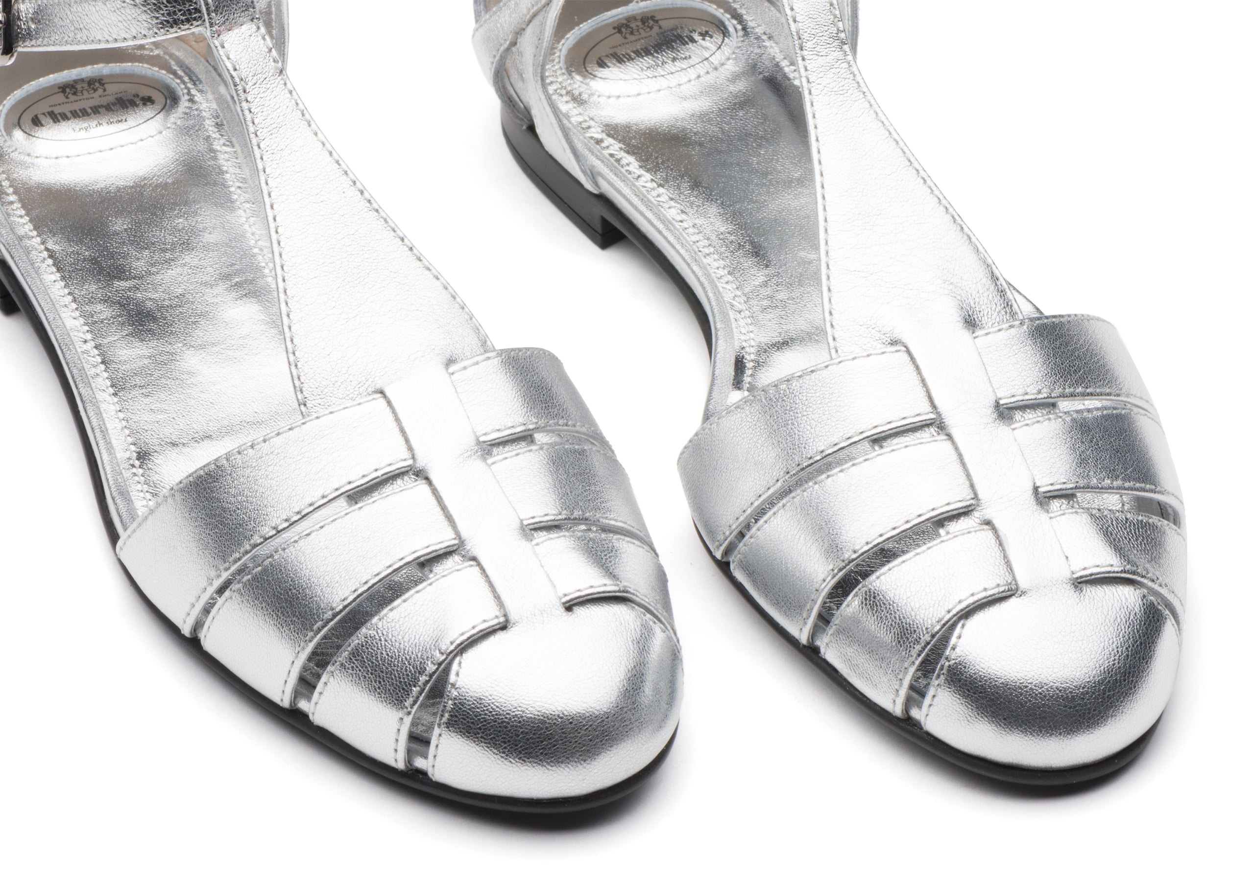 Rainbow Church's Metallic Nappa Leather T-Bar Sandal Gold/silver