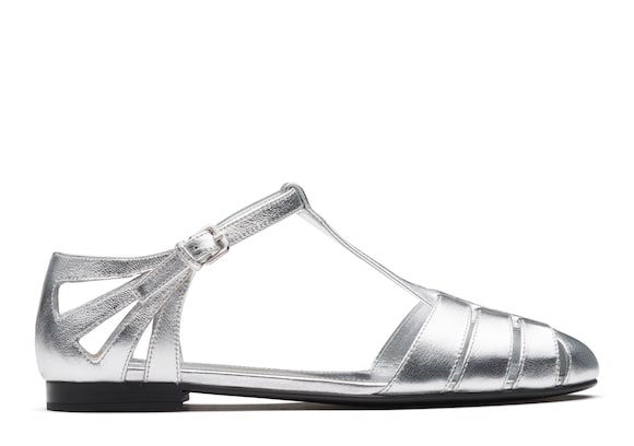 Metallic Nappa Leather T-Bar Sandal
