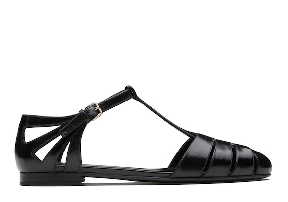 Shine Calf Leather T-Bar Sandal