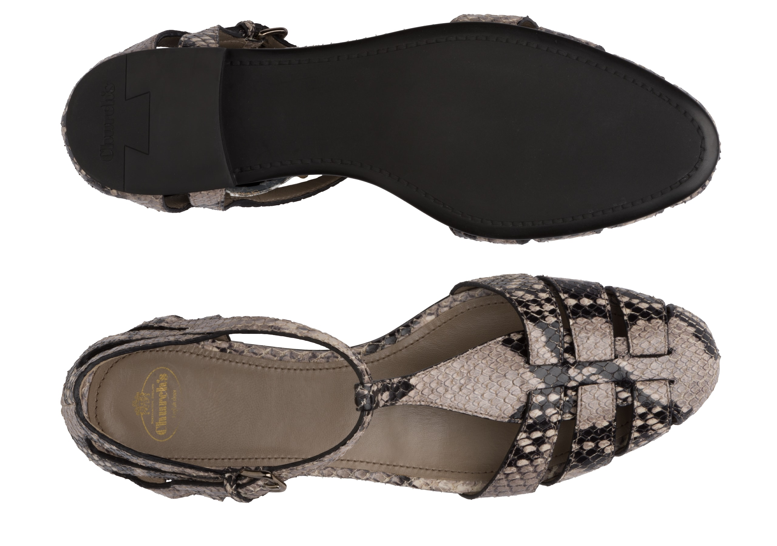 Rainbow Church's T-Bar Sandal Python Print Grey