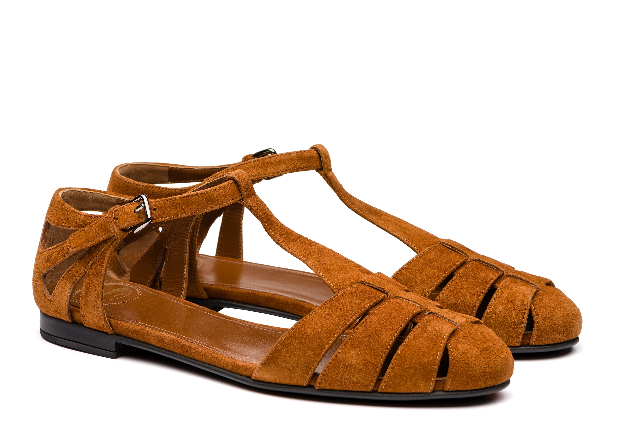 Rainbow Church's Suede T-Bar Sandal Brown