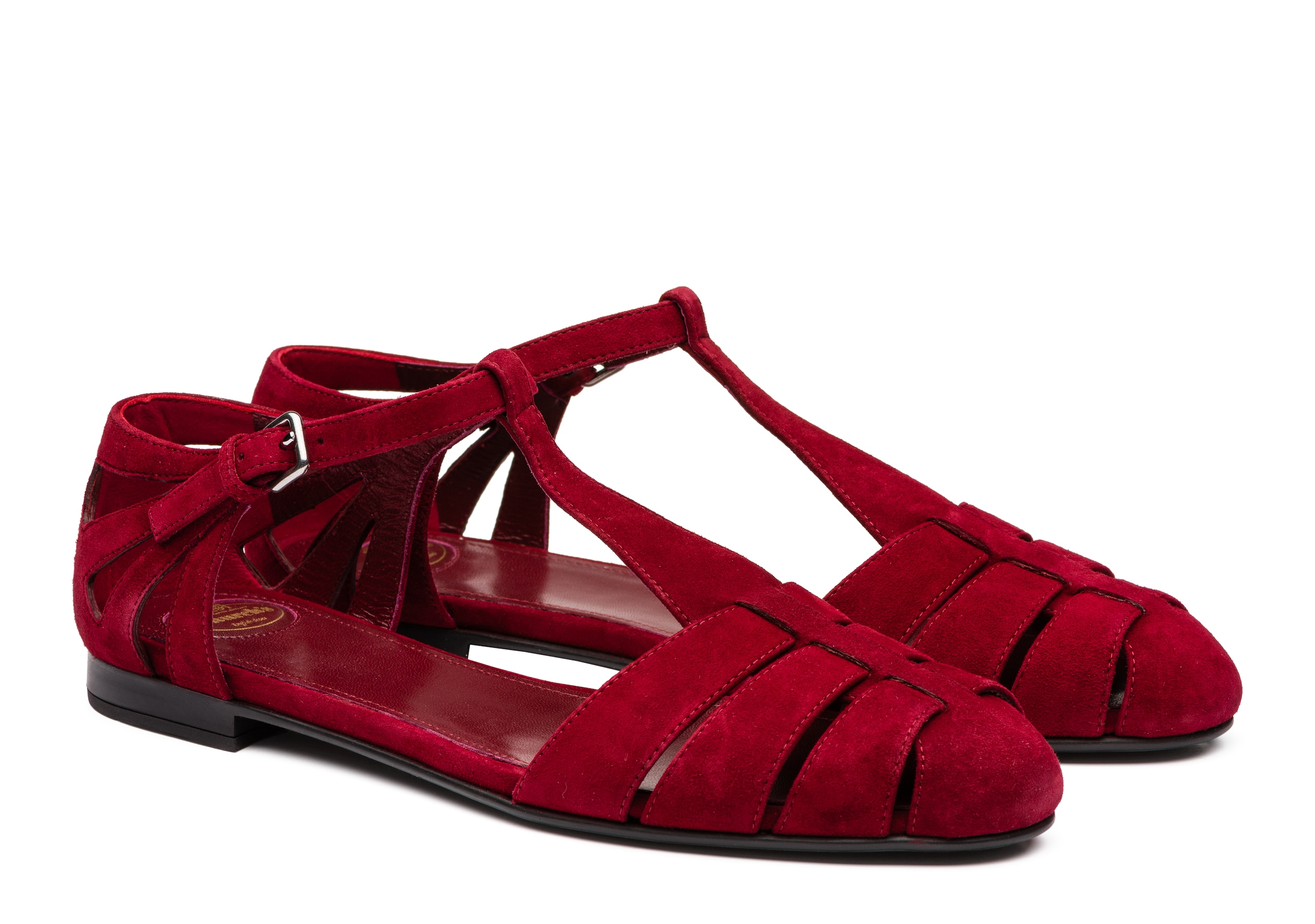Rainbow Church's Suede T-Bar Sandal Red