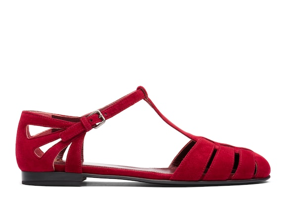 Church's Rainbow Suede T-Bar Sandal Red