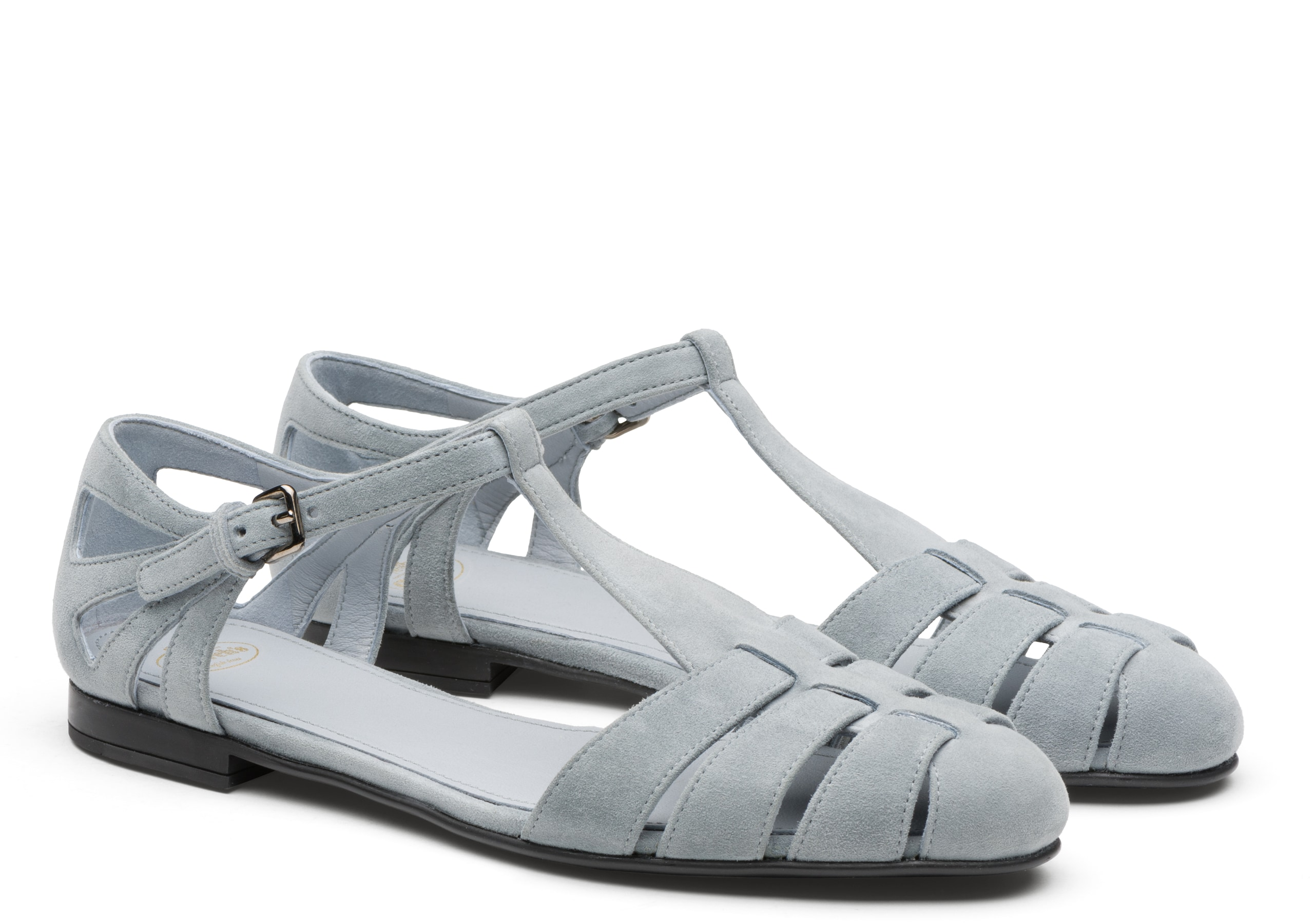 Rainbow Church's Suede T-Bar Sandal Light Blue