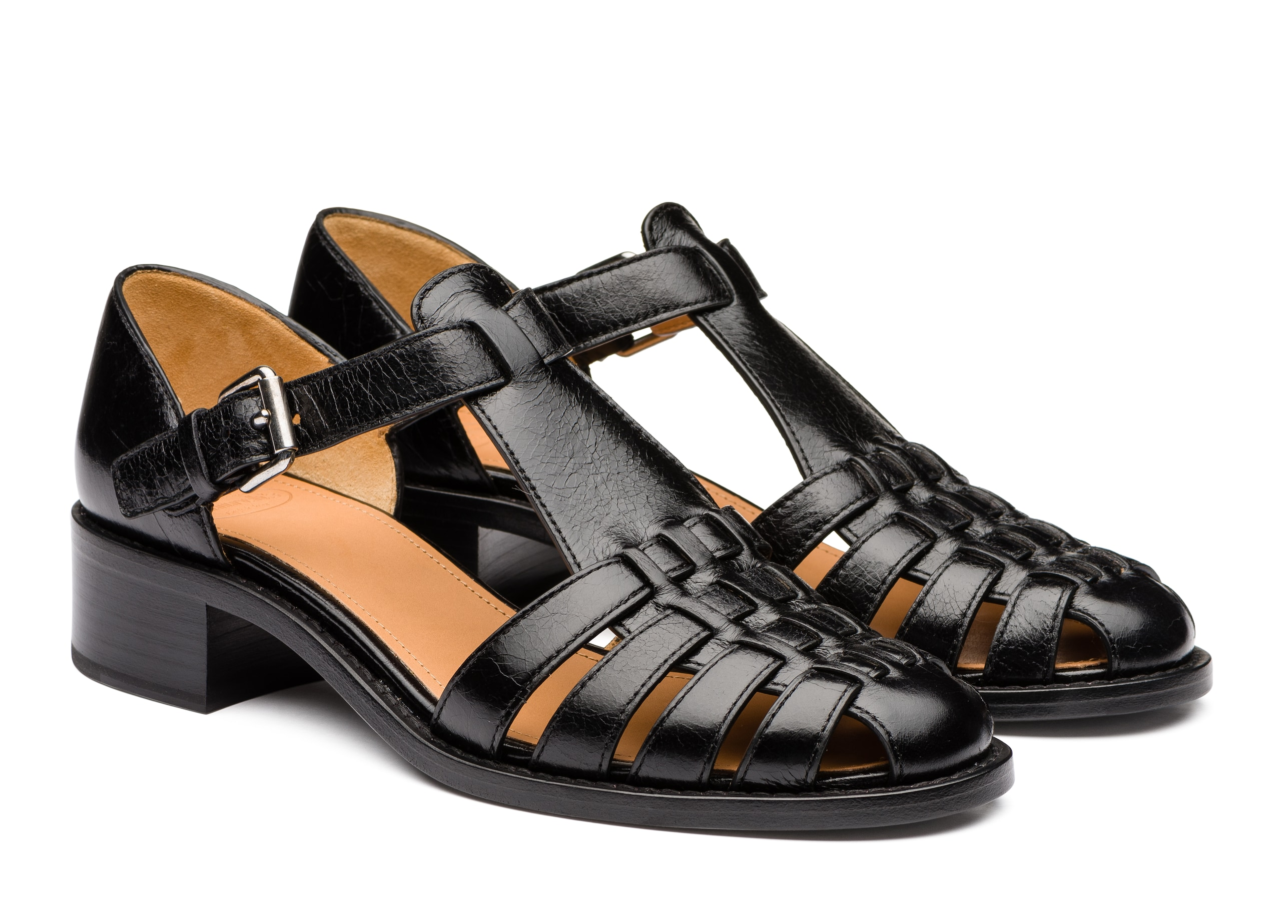 Kelsey 35 Church's Shine Calf Leather Low Heeled Sandal Black