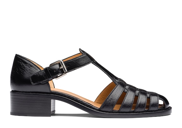 Shine Calf Leather Low Heeled Sandal