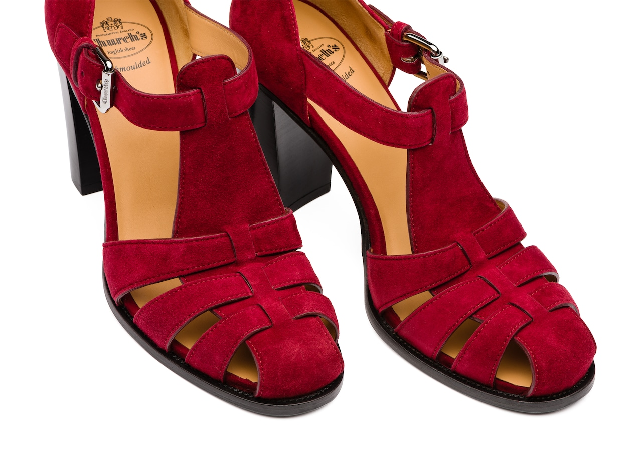 Kelsey 90 Church's Suede Heeled Sandal Red
