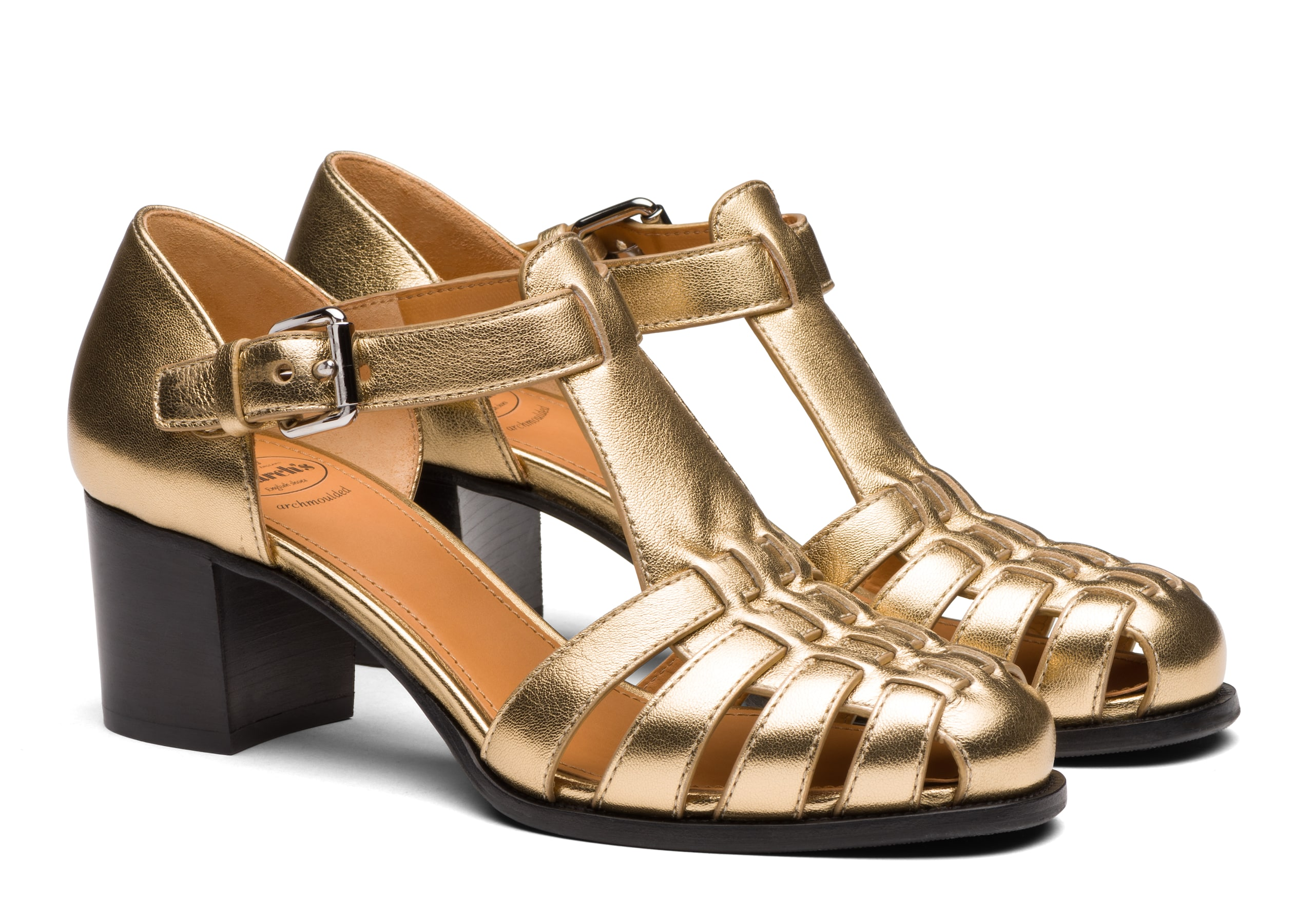 Kelsey 50 Church's Nappa Leather Mid Heel Sandal Gold/silver